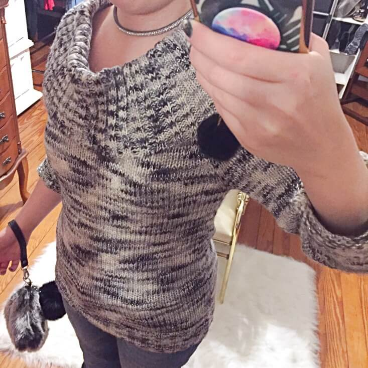 marbled gray off the shoulder sweater outfit of the day