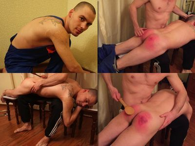 RusStraightGuys - Siberian 22 y.o. Hand and Spoon hard spanking