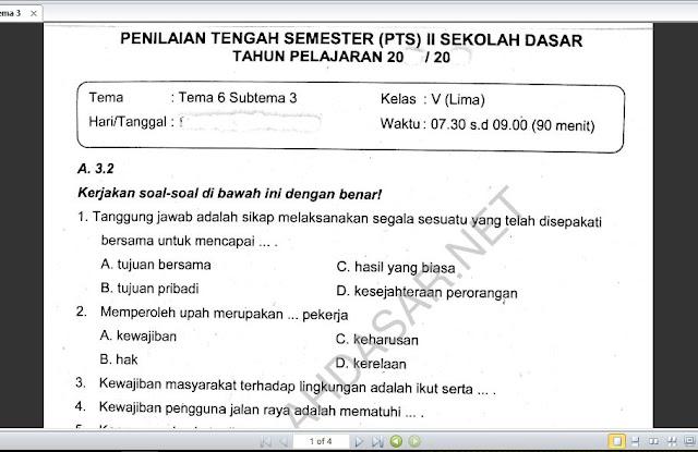 Soal PTS Kelas 5 Tema 6 Subtema 3