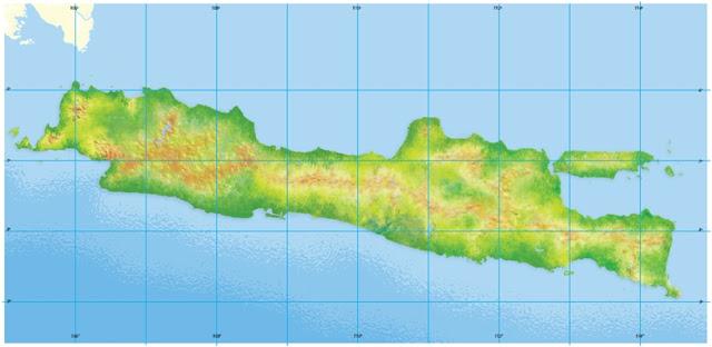 Peta Buta Pulau Jawa Tengah Timur Barat