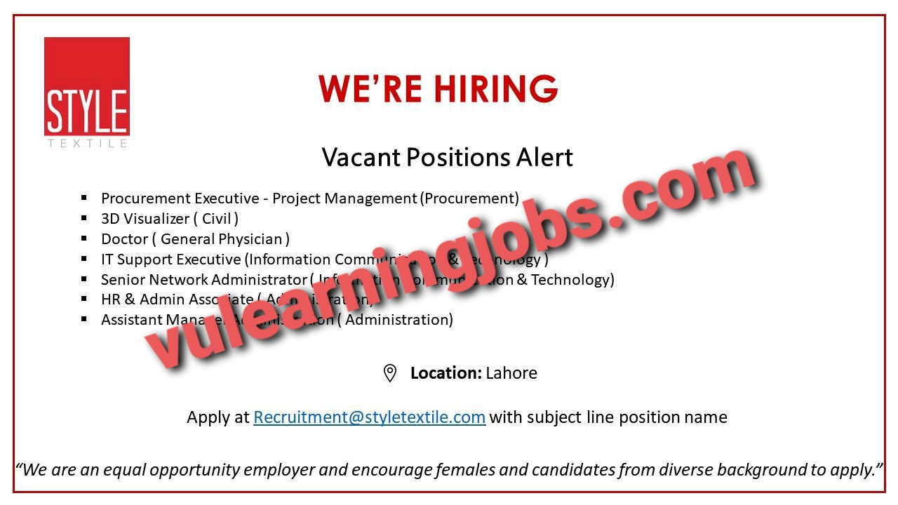 Style Textile April Jobs In Pakistan 2021 Latest | Apply Now