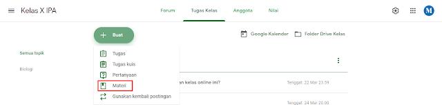 Cara Memposting Materi di Google Classroom