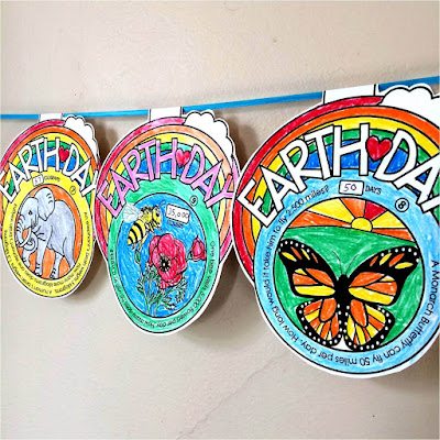 Earth Day math pennant