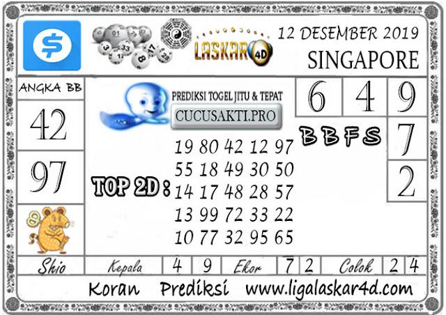 Prediksi Togel SINGAPORE LASKAR4D 12 DESEMBER 2019