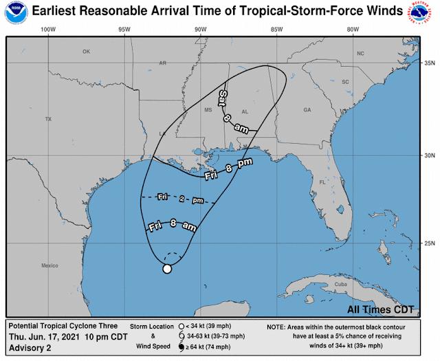 Desorganizado Potencial Ciclón Tropical 3 avanza a EU, dejando lluvias en el sureste