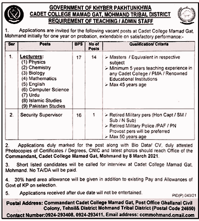 Cadet College Mamad Lecturers Jobs in Pakistan 20/02/2021 Latest