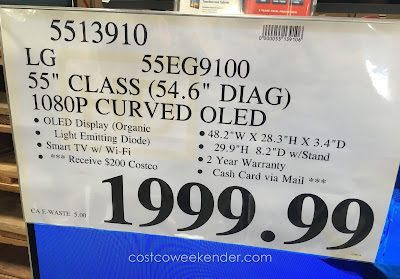 Deal for the LG 55EG9100 55 in Curved TV at Costco