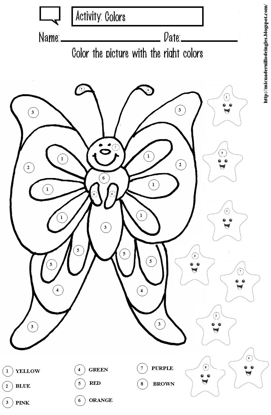 Mi cuadernillo de inglés: Color the butterfly and stars