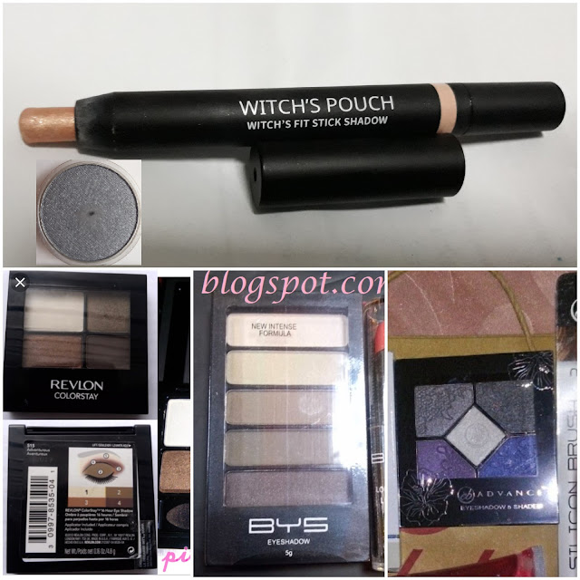 Witch's Pouch Fit Stick Shadow in 05 from Browhaus/Strip (the grayish/silver 5A21 sheer satin shadow ), Revlon Colorstay, BYS and eb Advance.