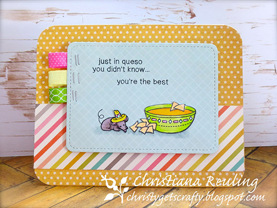Queso and mouse cheese card by Christy Reuling | Just Say Cheese stamp set by Newton's Nook Designs #newtonsnook