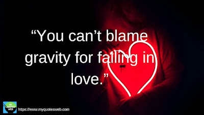 Best Short Love Quotes -  You can't blame gravity