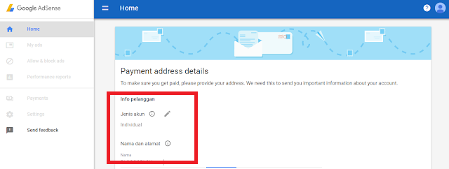 Dasboard Google Adsense saat pertama mendaftar