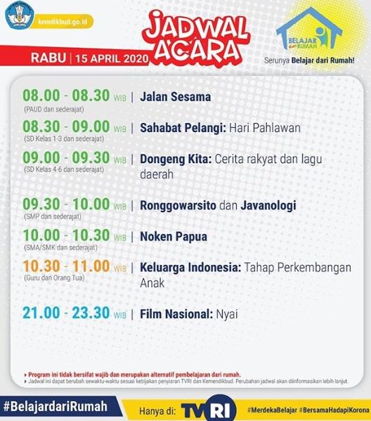 Update Jadwal Belajar dari Rumah TVRI, Rabu 15 April 2020