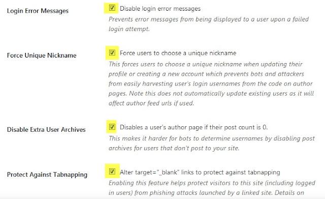 ajustes de sección de WordPress
