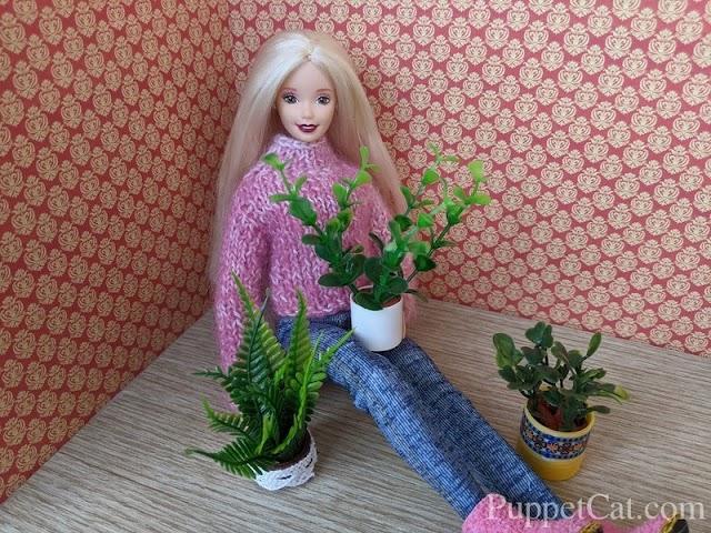 Легкий способ сделать горшки с цветами для кукол
