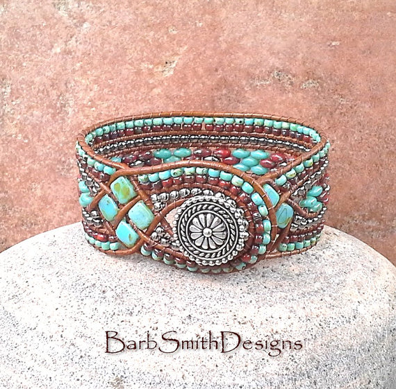 Knotted And Beaded Leather Bracelets By Barbsmithdesigns