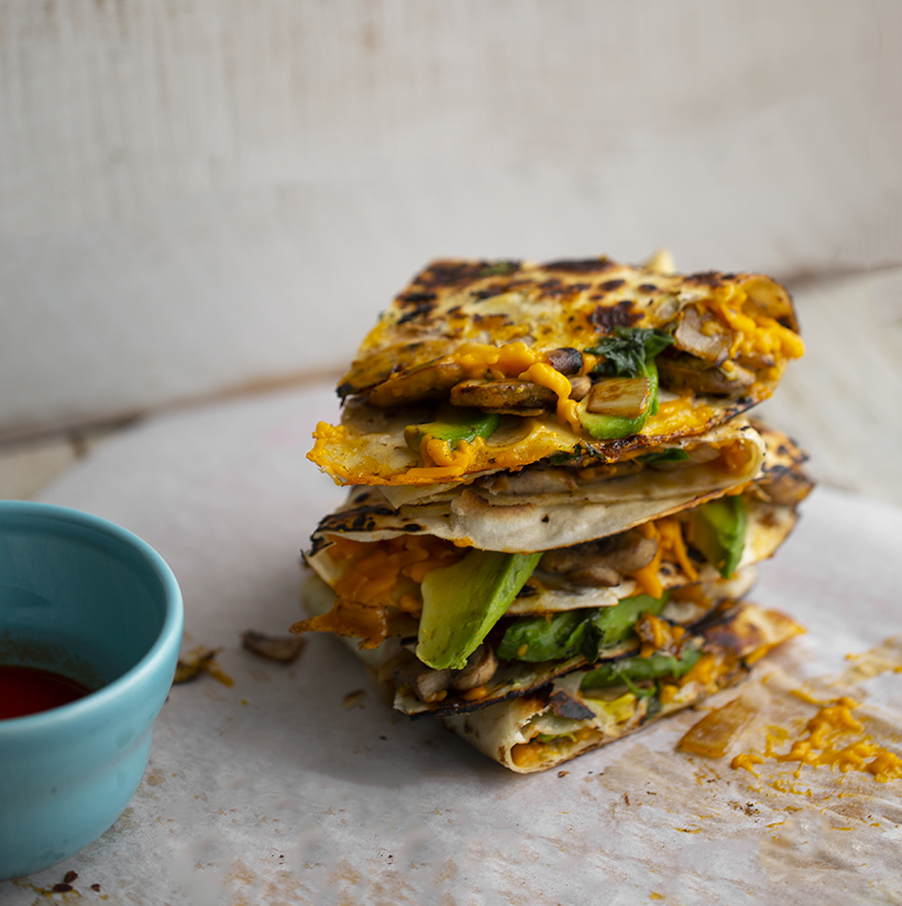 Vegan Mushroom Avocado Quesadillas