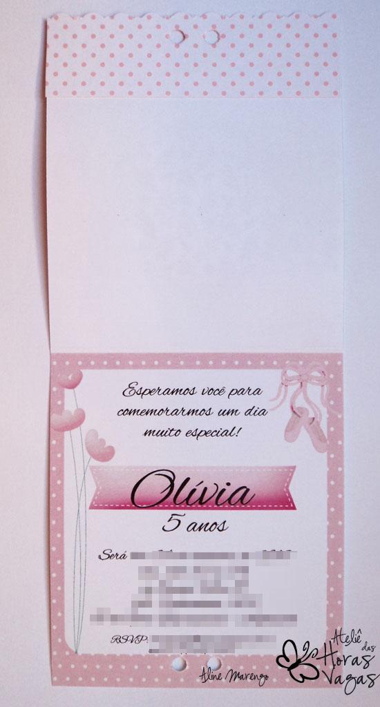 convite artesanal infantil aniversário criança bailarina rosa floral sapatilha