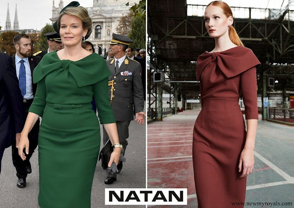 Queen Mathilde wore a green dress by NATAN