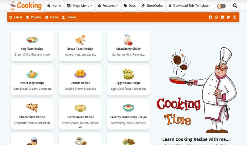 Cooking - Recipe & Food Premium Blogger Templates