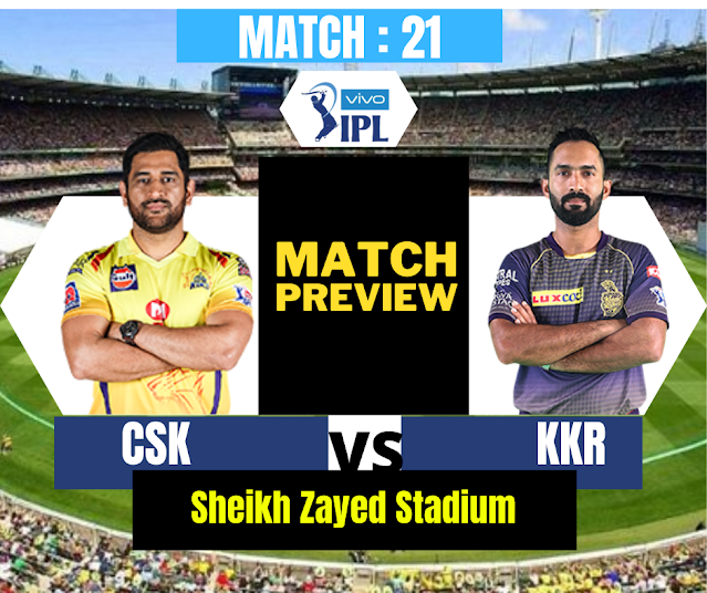 DREAM11 IPL 2020, MATCH 21: KKR VS CSK - PREVIEW,  PROBABLE XI, RECORDS