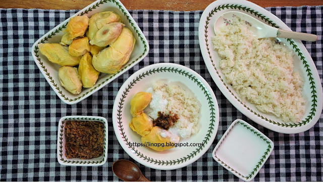 cara buat pulut durian, cara tanak pulut, tanak pulut guna rice cooker, masak pulut, tips pulut lembut dan sedap, pulut durian tanak, durian musang king,durian kampung, pulut durian mudah dan sedap