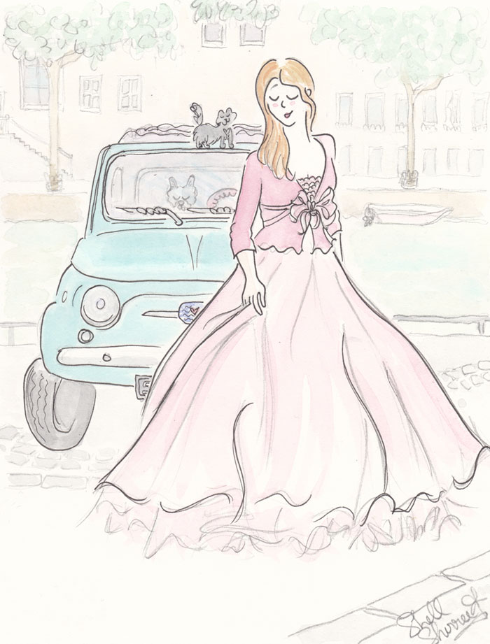 Aqua Fiat with Pink Paris Tutu, Frenchie and Cat  © Shell Sherree all rights reserved