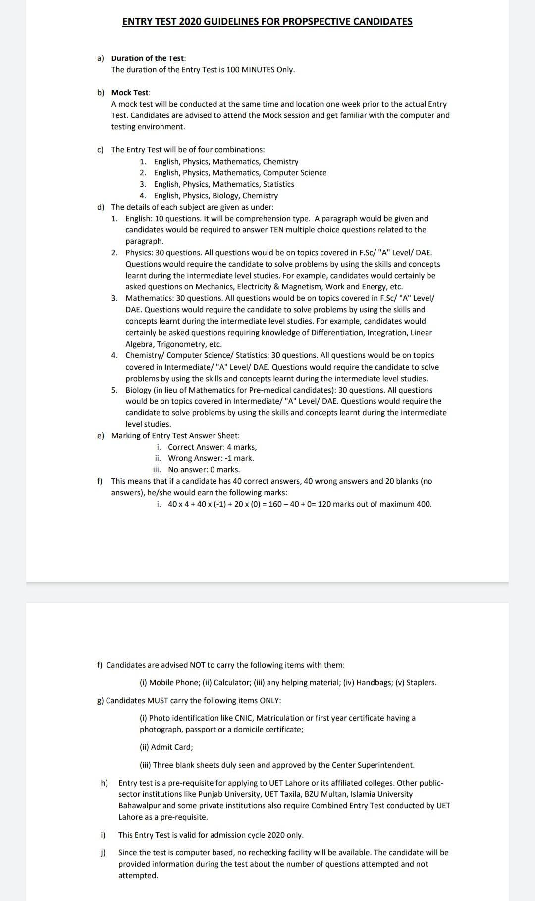 Uet ecat test guideline 2020