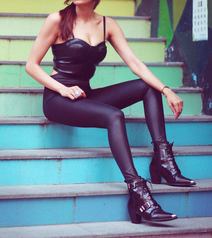 Femme Luxe Faux Leather Black Leggings