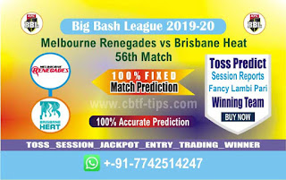 cricket prediction 100 win tips Renegades vs Brisbane
