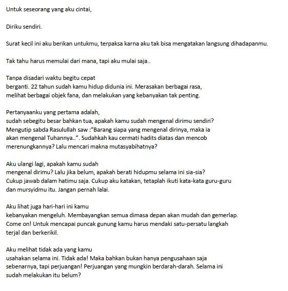 Contoh Surat Pribadi Singkat untuk Diri Sendiri (via: brainly.co.id)
