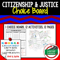 Civics and Government Digital Learning Choice Boards, Google Lessons, Citizenship and Justice