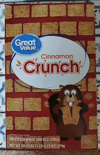 Box of Walmart's Great Value Cinnamon Crunch Cereal