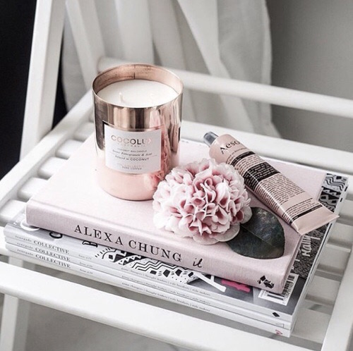 alexa chung + pink + pastel + candel +aesop