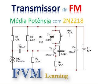 Transmissor de FM de Média Potência com 2N2218