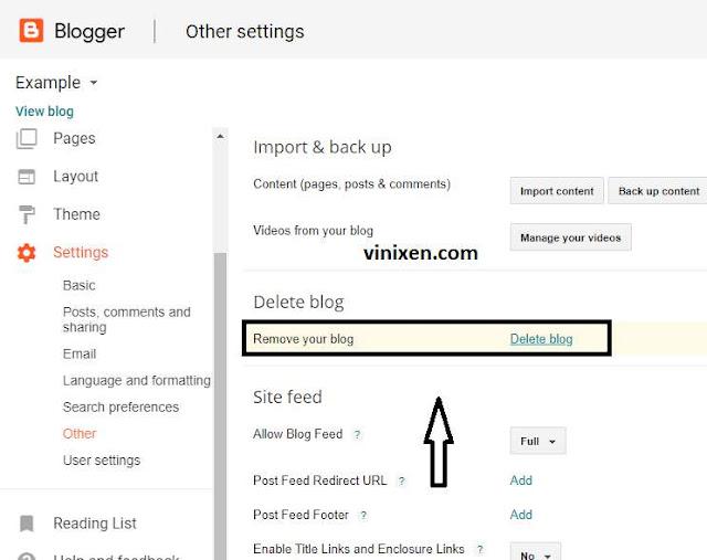delete your blogger blog
