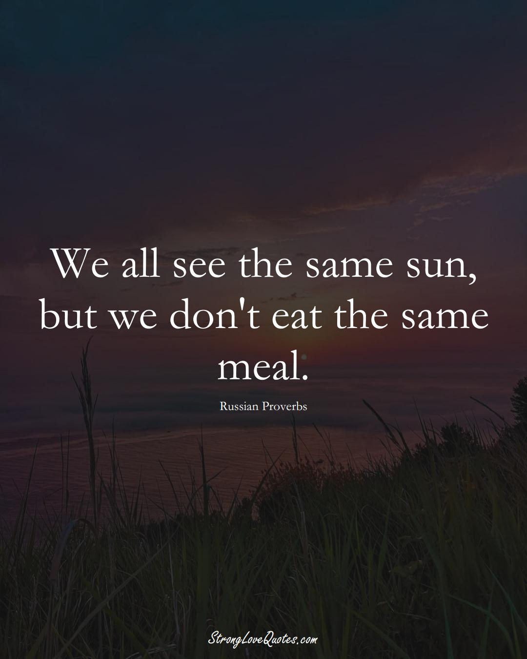 We all see the same sun, but we don't eat the same meal. (Russian Sayings);  #AsianSayings