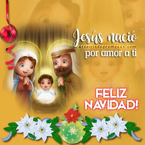 jesús nació mensajes de navidad con imágenes arcoiris de promesas