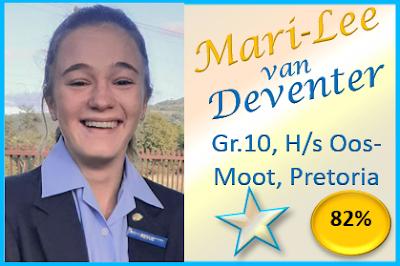 Mari-Lee van Deventer, Gr.10, Hoërskool Oos-Moot, Pretoria haal 82% met haar skitterende redevoering onder die tema Alternatief! Baie geluk, Mari-Lee!!