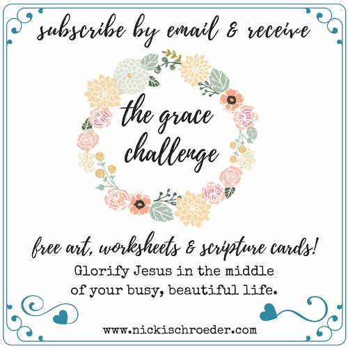 The Grace Challenge - Free artwork, worksheets and scripture cards to glorify Jesus in the middle of your beautiful, busy life!