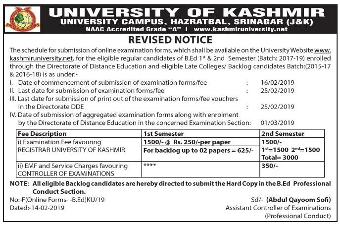Notice regarding submission of online examination forms for B.Ed 1st & 2nd Semester through DDE - University of Kashmir