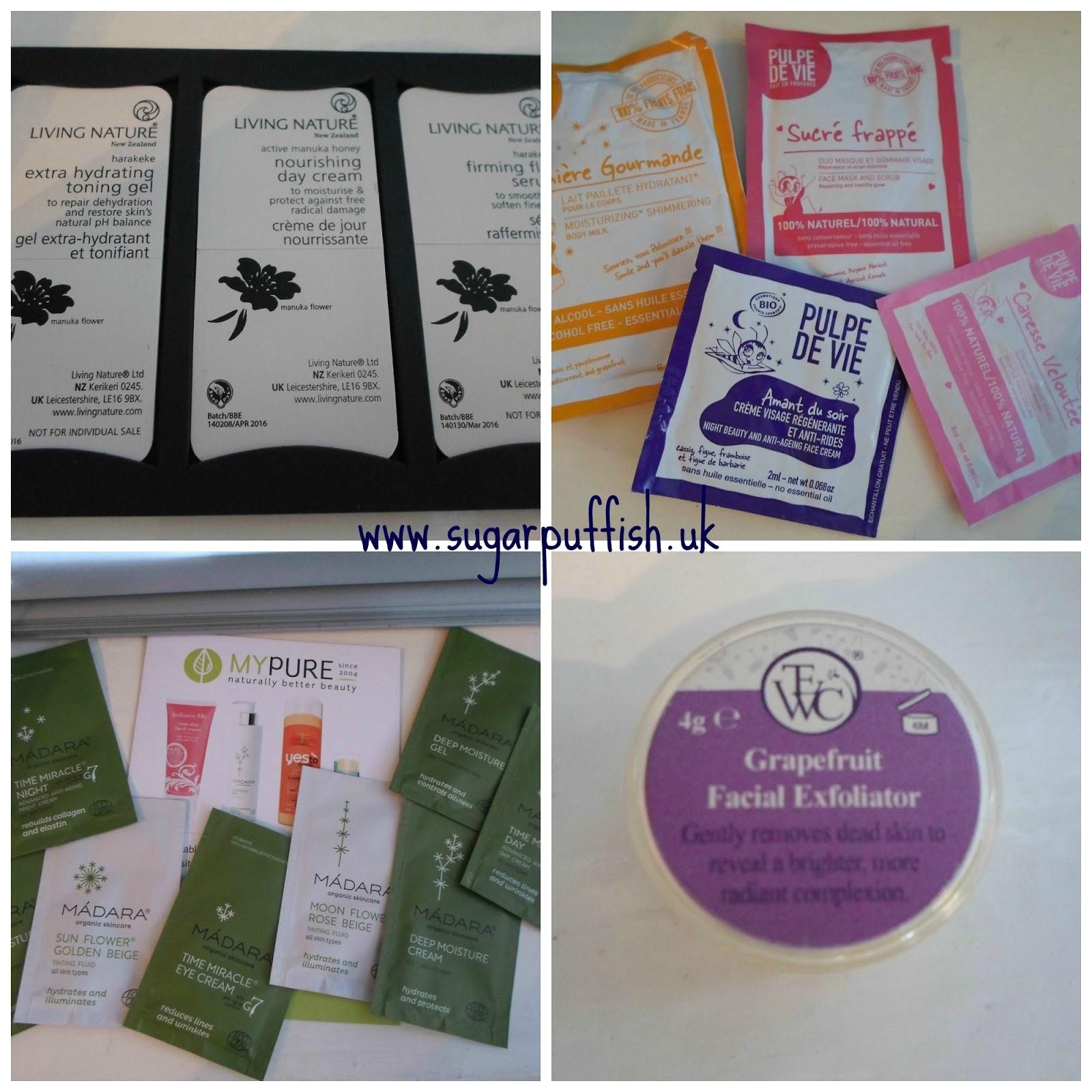 Samples - Living Nature, Pulpe De Vie, TEWC, Madara, Herbfarmacy