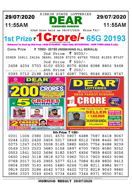 Sikkim State Lotteries 29-07-2020 Lottery Sambad Result 11:55 AM