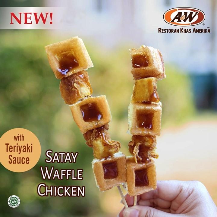 A&W Promo 2 Pcs Satay Waffle Chicken With Teriyaki Sauce Cuma Rp 14.000