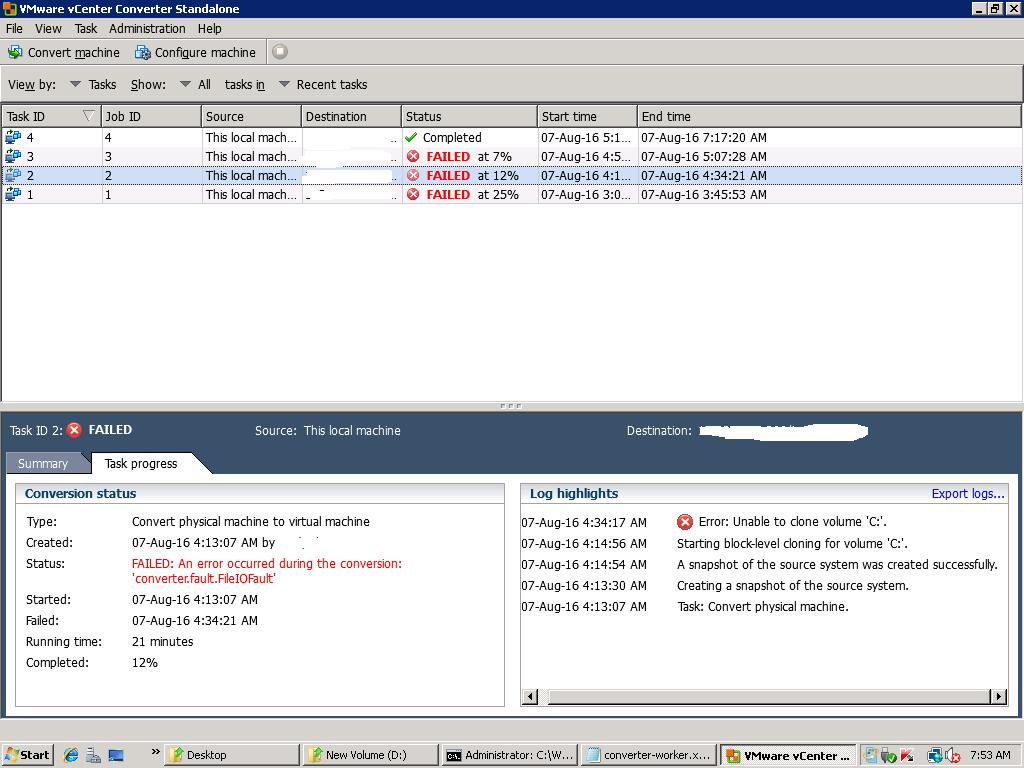 VMware vCenter Converter Standalone [converter fault