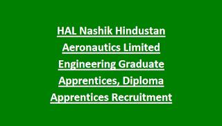 HAL Nashik Hindustan Aeronautics Limited Engineering Graduate Apprentices, Diploma Apprentices Recruitment Walk in Interview