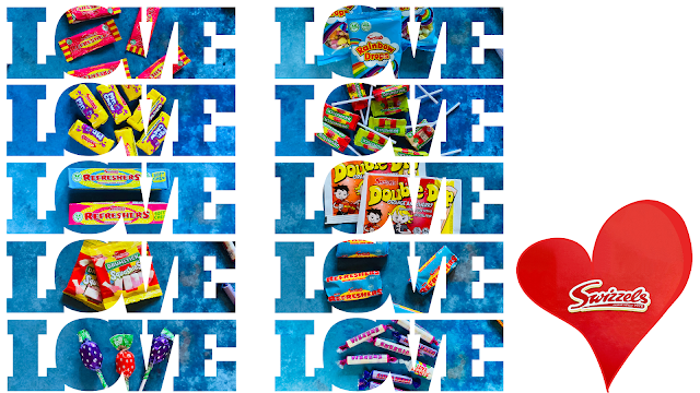 Photographs of various Swizzels sweets in a LOVE shaped cut out next to a red heart with the Swizzels logo in
