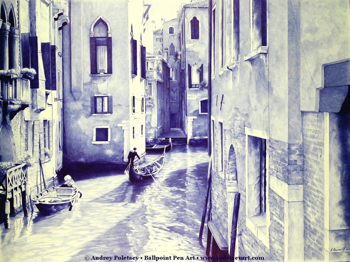 13-Venice-Andrey-Poletaev-Detailed-Urban-Drawings-achieved-with-a-Ballpoint-Pen-www-designstack-co