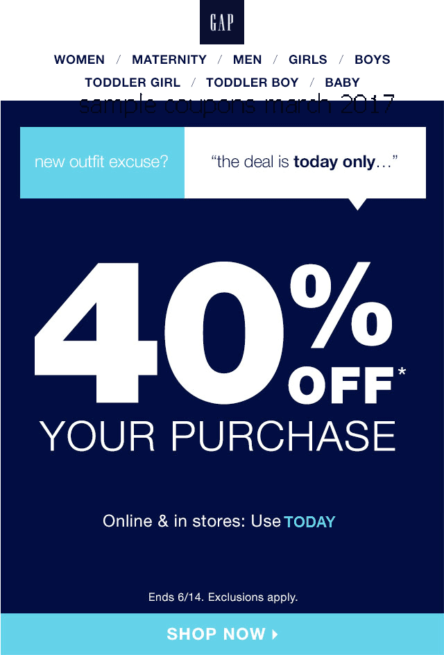Gap coupon code 2018