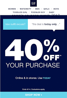 free Gap coupons march 2017